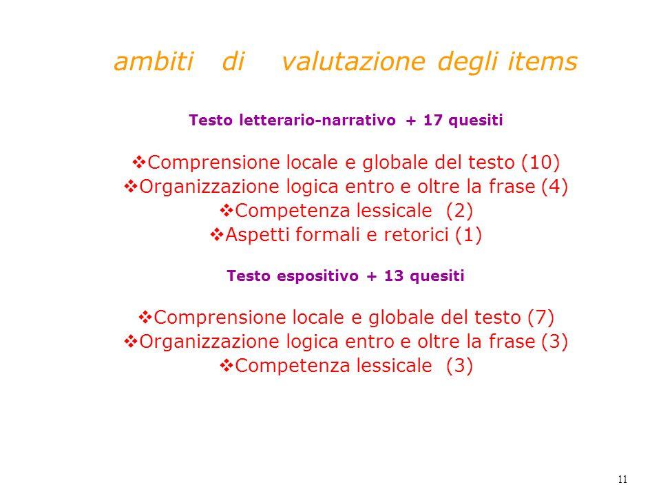 Testo letterario-narrativo + 17 quesiti Testo espositivo + 13 quesiti