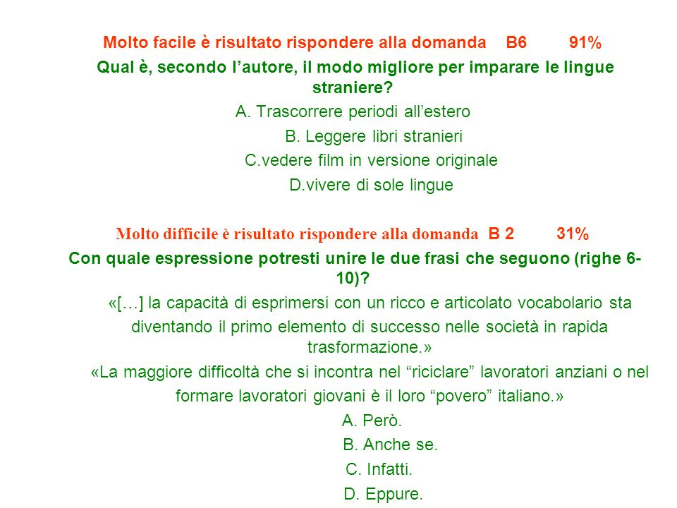 Molto facile è risultato rispondere alla domanda B6 91%