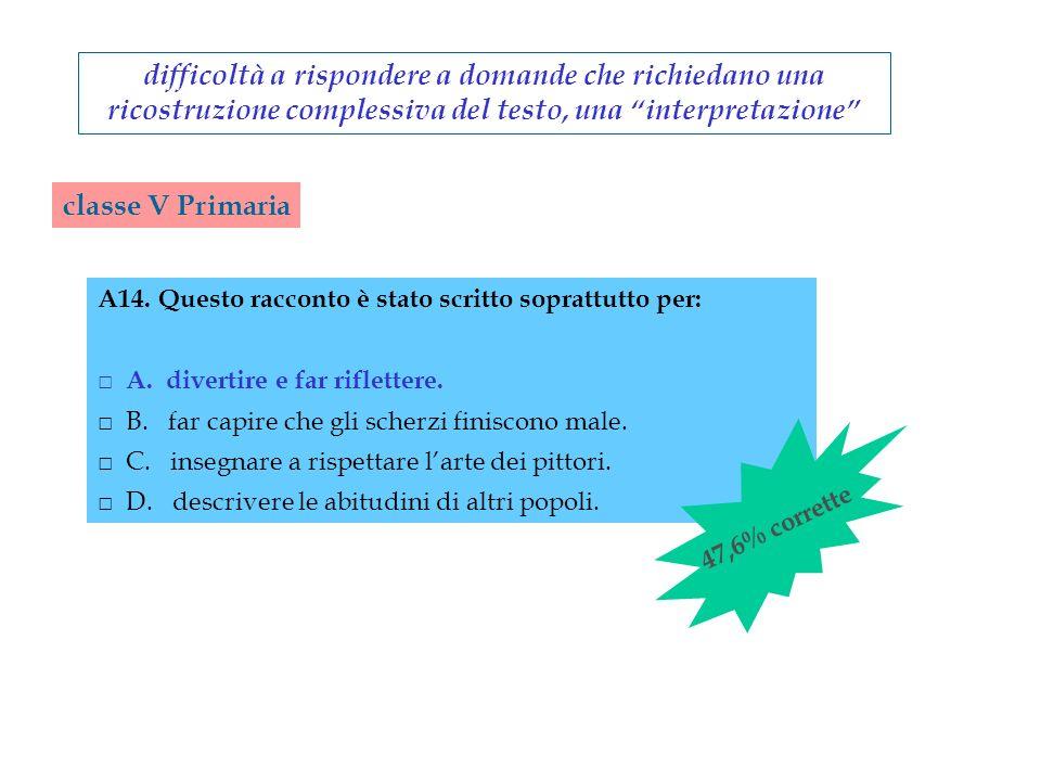 difficoltà a rispondere a domande che richiedano una ricostruzione complessiva del testo, una interpretazione