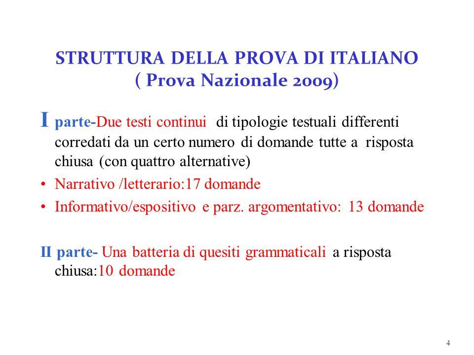 STRUTTURA DELLA PROVA DI ITALIANO ( Prova Nazionale 2009)