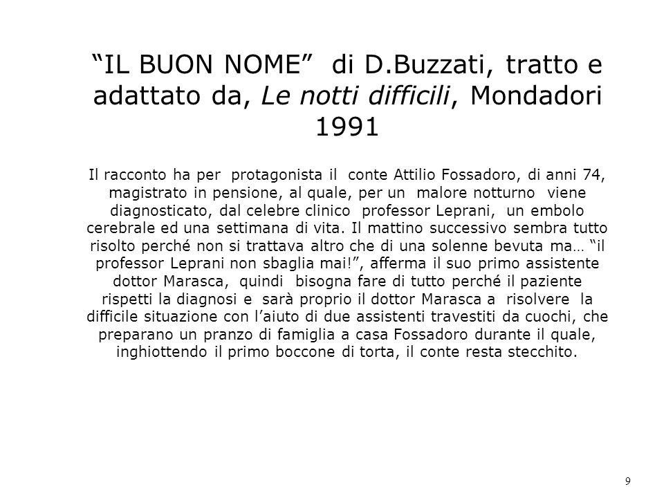 IL BUON NOME di D.Buzzati, tratto e adattato da, Le notti difficili, Mondadori 1991