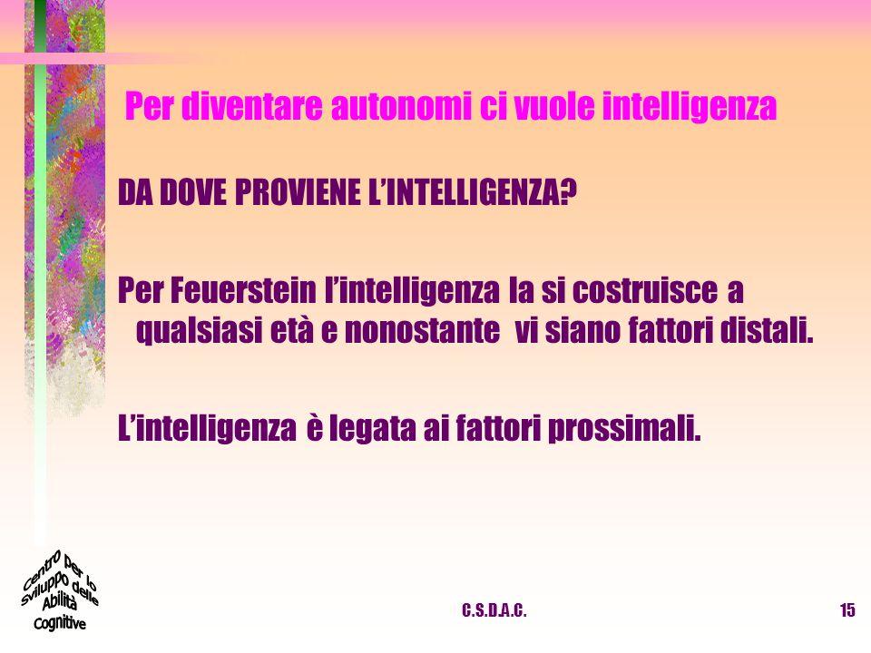 Per diventare autonomi ci vuole intelligenza