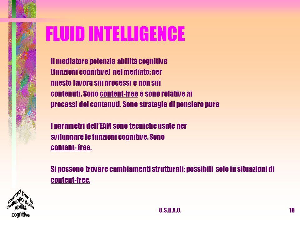 FLUID INTELLIGENCE Il mediatore potenzia abilità cognitive