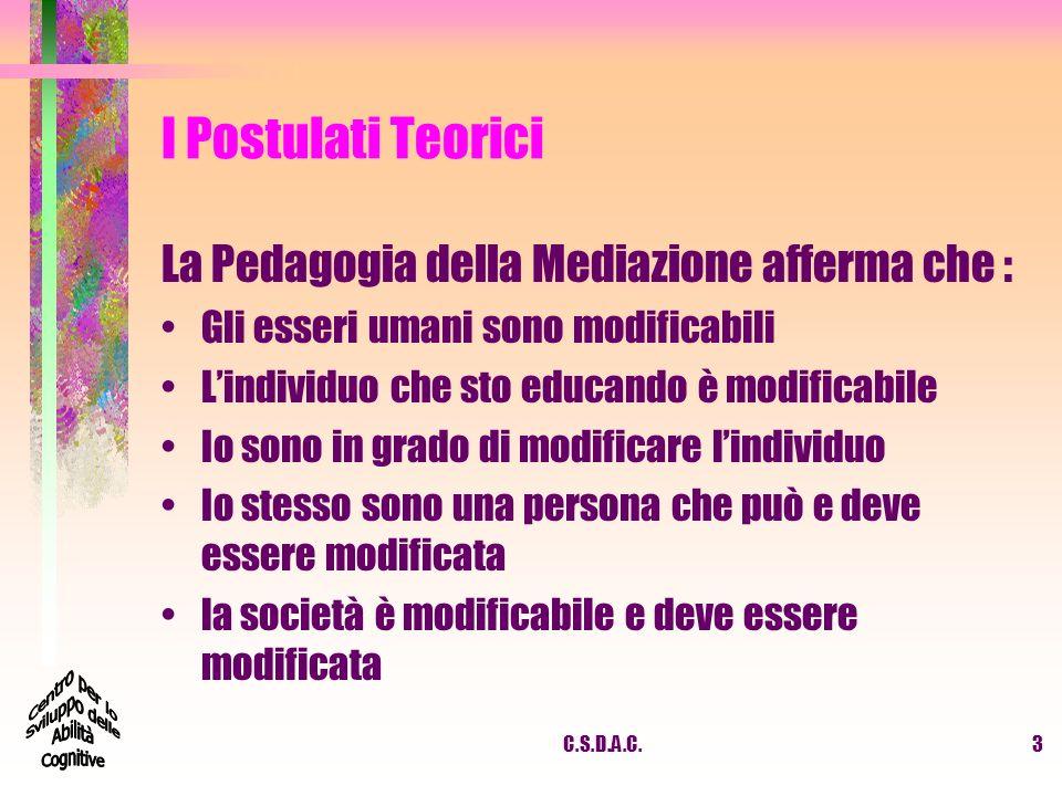 I Postulati Teorici La Pedagogia della Mediazione afferma che :