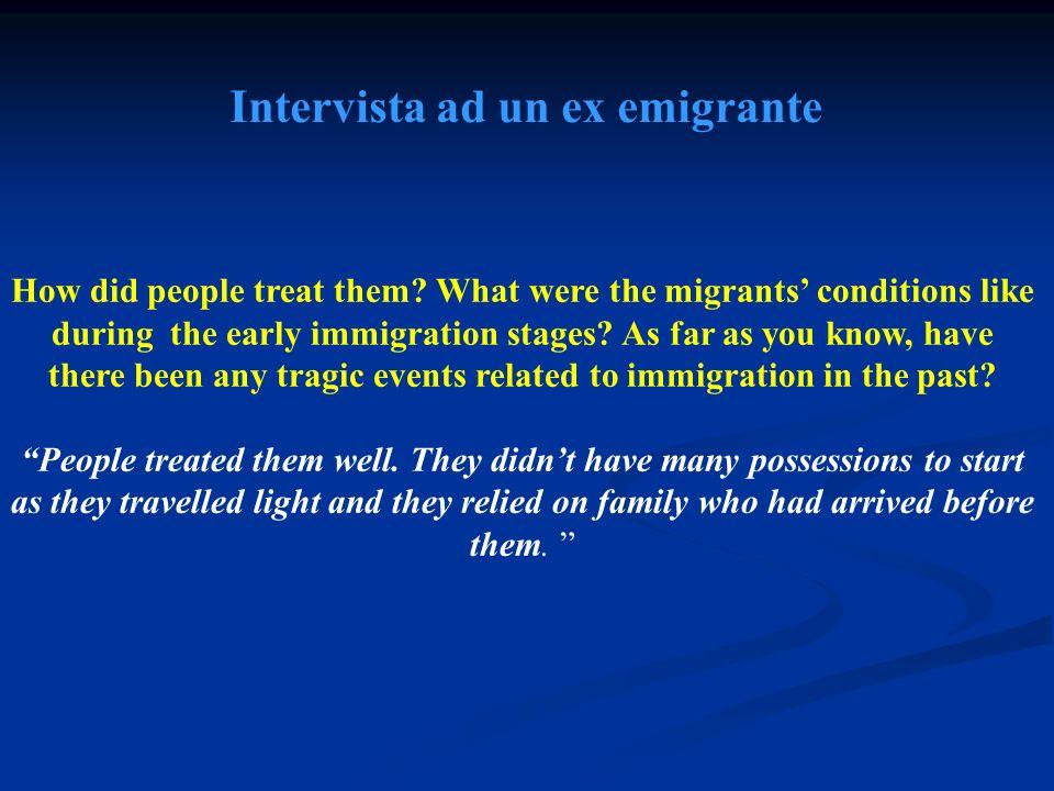Intervista ad un ex emigrante