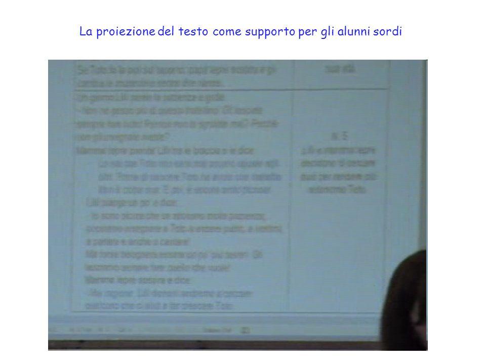 La proiezione del testo come supporto per gli alunni sordi