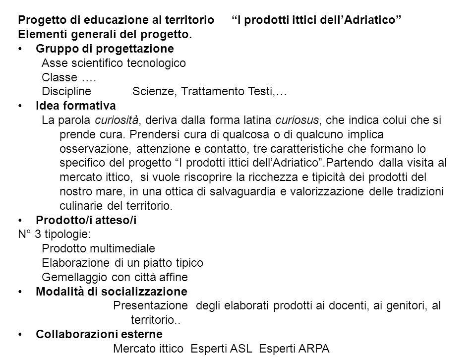 Progetto di educazione al territorio I prodotti ittici dell'Adriatico