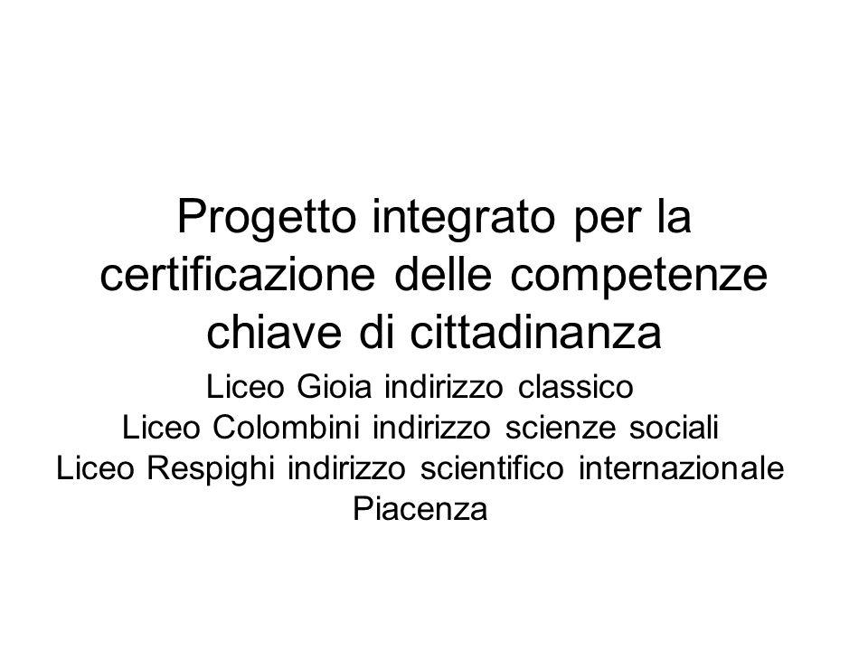 Progetto integrato per la certificazione delle competenze chiave di cittadinanza