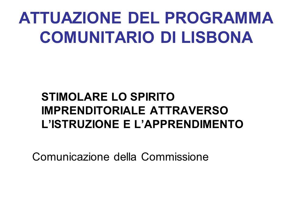 ATTUAZIONE DEL PROGRAMMA COMUNITARIO DI LISBONA