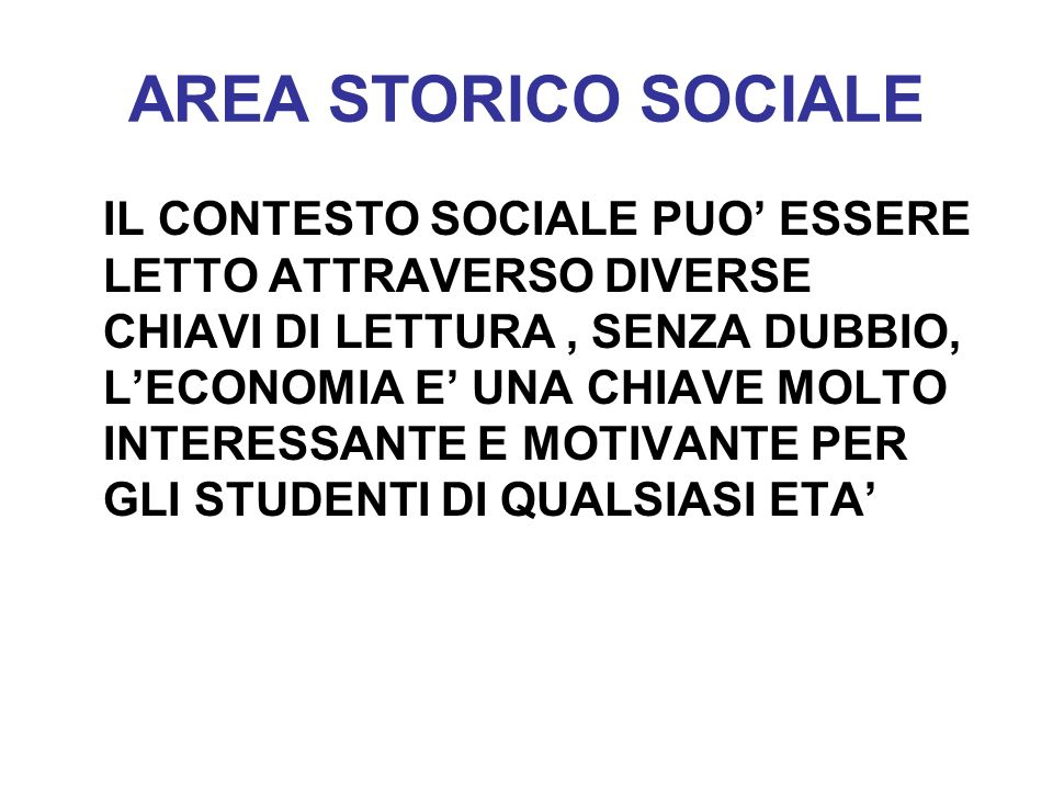 AREA STORICO SOCIALE