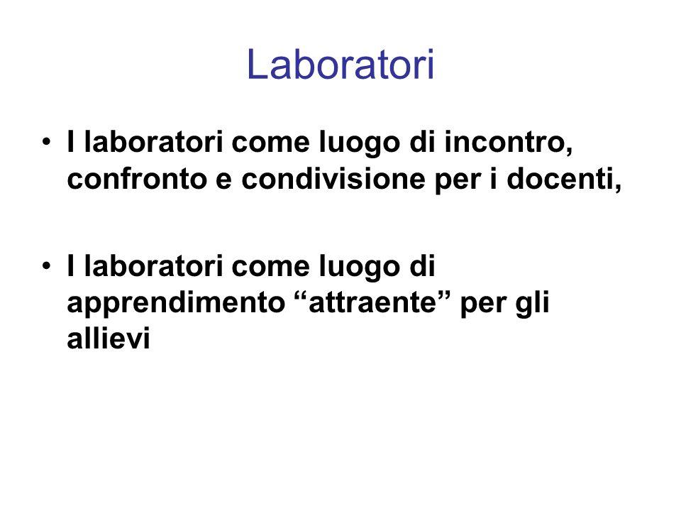 Laboratori I laboratori come luogo di incontro, confronto e condivisione per i docenti,