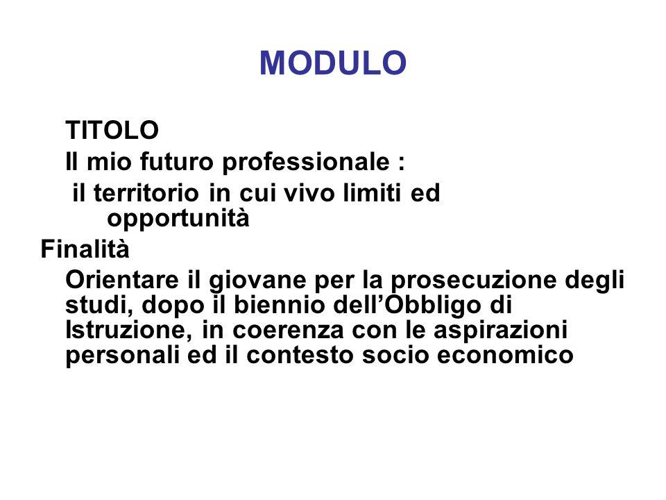 MODULO TITOLO Il mio futuro professionale :