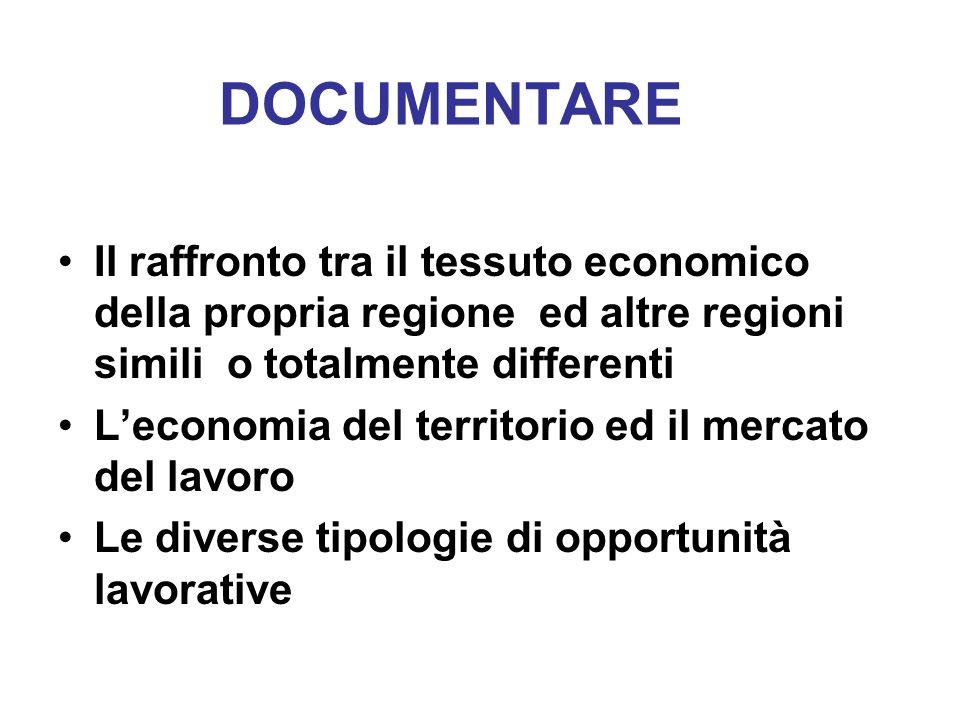 DOCUMENTARE Il raffronto tra il tessuto economico della propria regione ed altre regioni simili o totalmente differenti.
