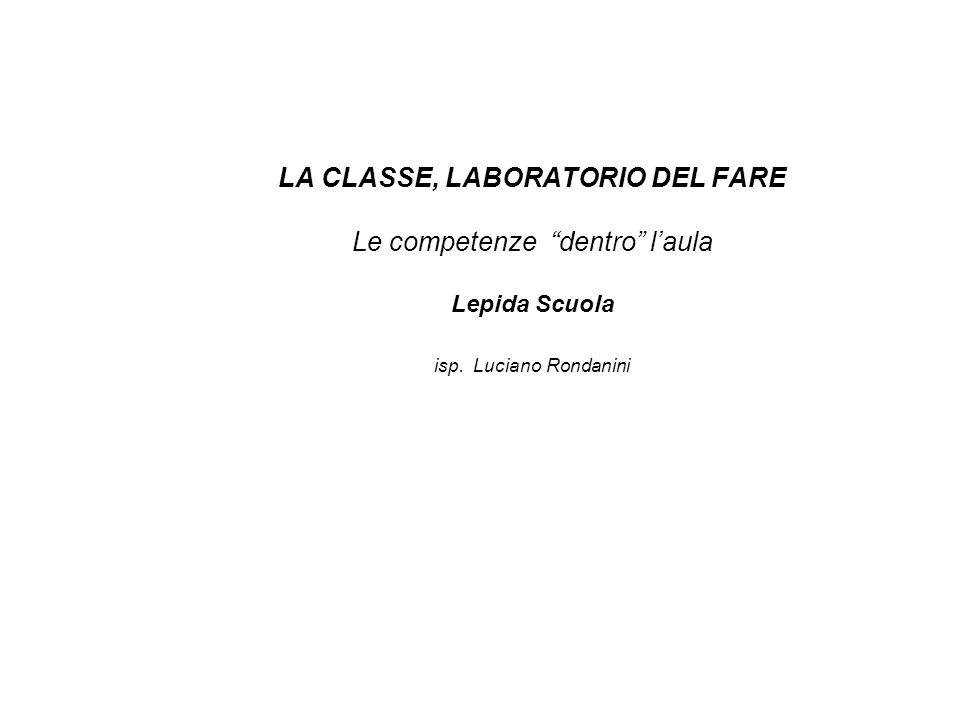 LA CLASSE, LABORATORIO DEL FARE Le competenze dentro l'aula Lepida Scuola isp. Luciano Rondanini