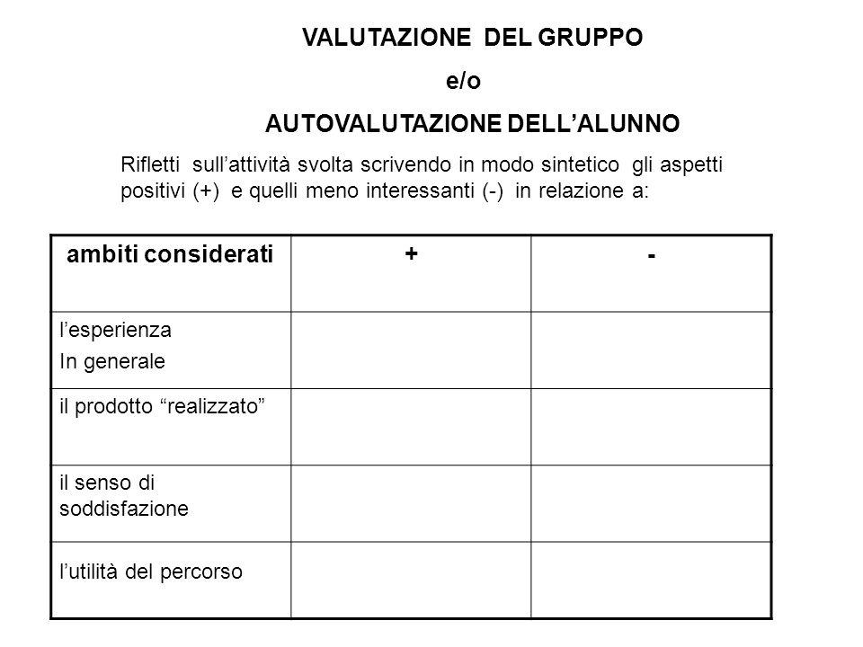 VALUTAZIONE DEL GRUPPO AUTOVALUTAZIONE DELL'ALUNNO