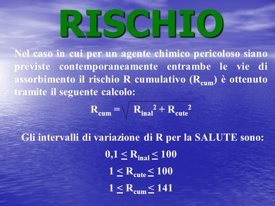 Gli intervalli di variazione di R per la SALUTE sono:
