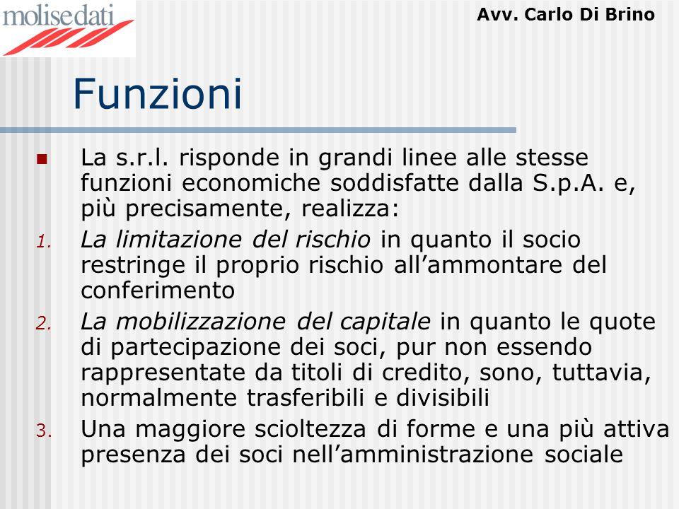 Funzioni La s.r.l. risponde in grandi linee alle stesse funzioni economiche soddisfatte dalla S.p.A. e, più precisamente, realizza: