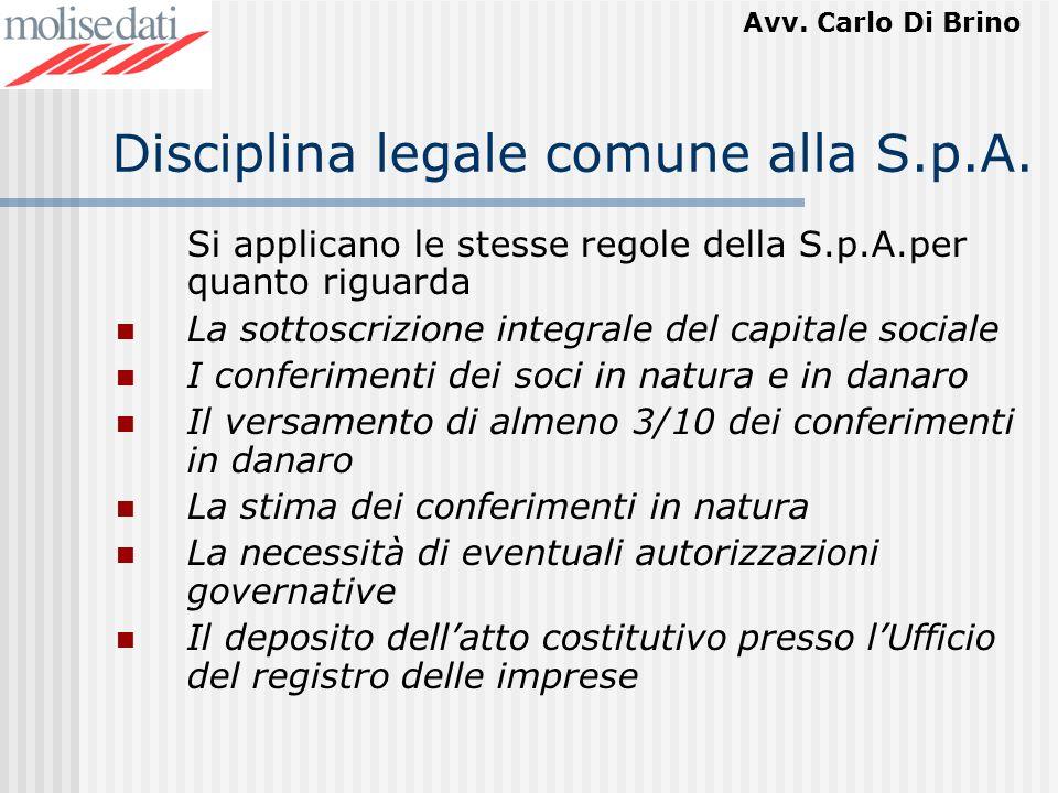 Disciplina legale comune alla S.p.A.