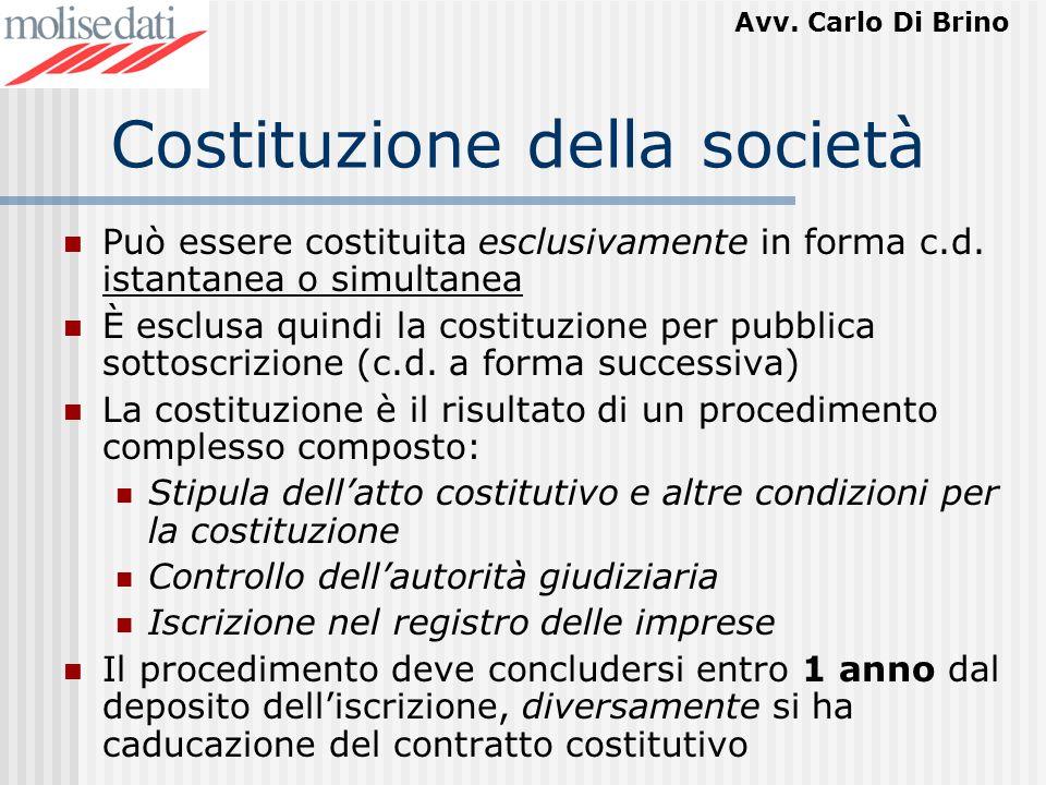 Costituzione della società