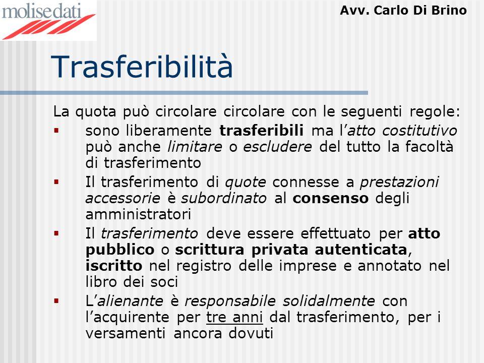 Trasferibilità La quota può circolare circolare con le seguenti regole: