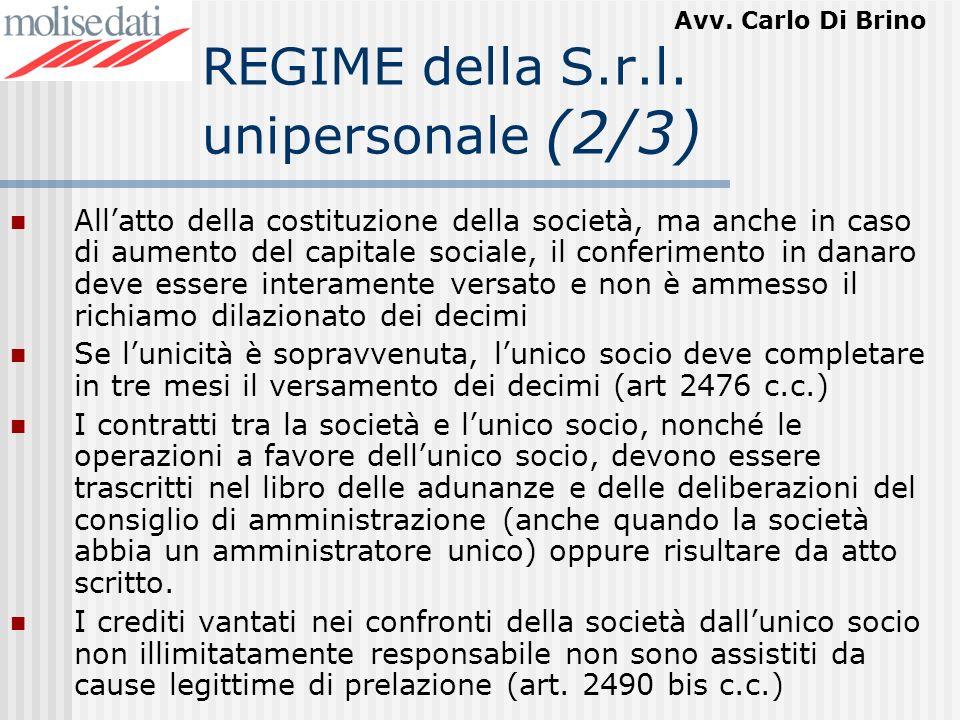 REGIME della S.r.l. unipersonale (2/3)