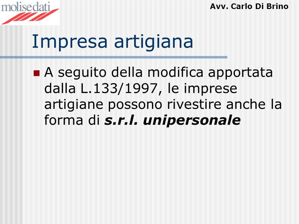 Impresa artigianaA seguito della modifica apportata dalla L.133/1997, le imprese artigiane possono rivestire anche la forma di s.r.l.