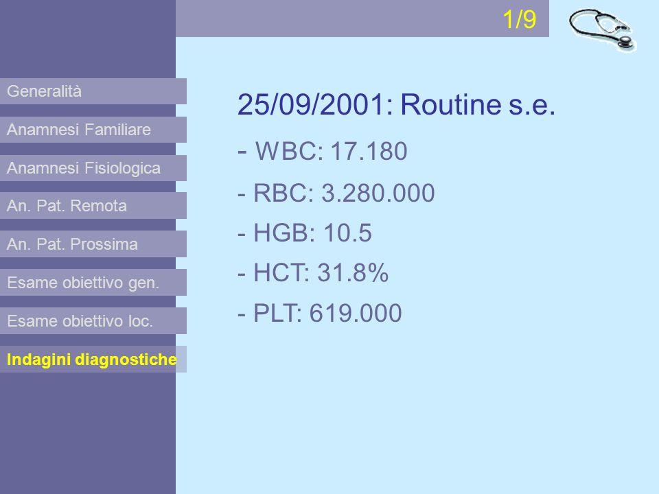 1/9 Generalità. 25/09/2001: Routine s.e. - WBC: 17.180 - RBC: 3.280.000 - HGB: 10.5 - HCT: 31.8% - PLT: 619.000.