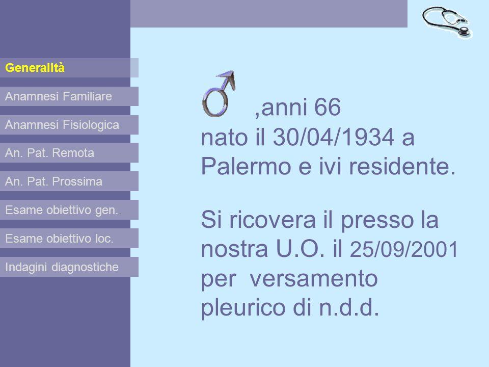 ,anni 66 nato il 30/04/1934 a Palermo e ivi residente.