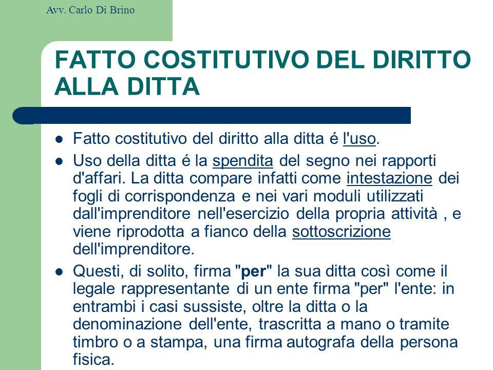 FATTO COSTITUTIVO DEL DIRITTO ALLA DITTA