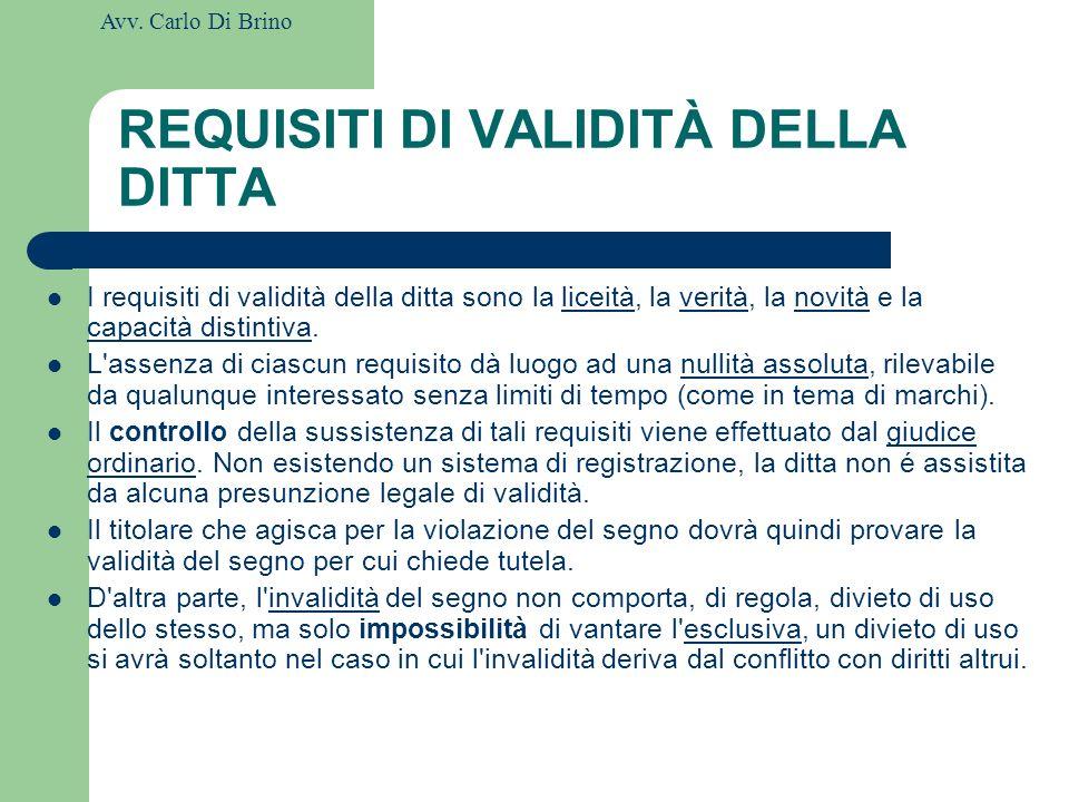 REQUISITI DI VALIDITÀ DELLA DITTA