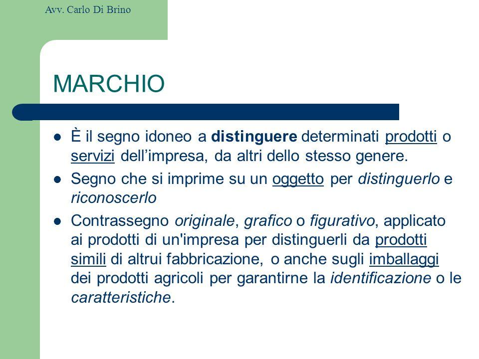 MARCHIO È il segno idoneo a distinguere determinati prodotti o servizi dell'impresa, da altri dello stesso genere.
