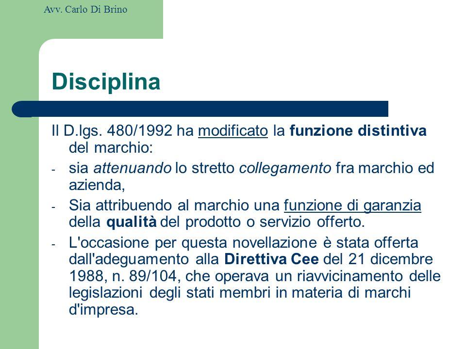 Disciplina Il D.lgs. 480/1992 ha modificato la funzione distintiva del marchio: sia attenuando lo stretto collegamento fra marchio ed azienda,