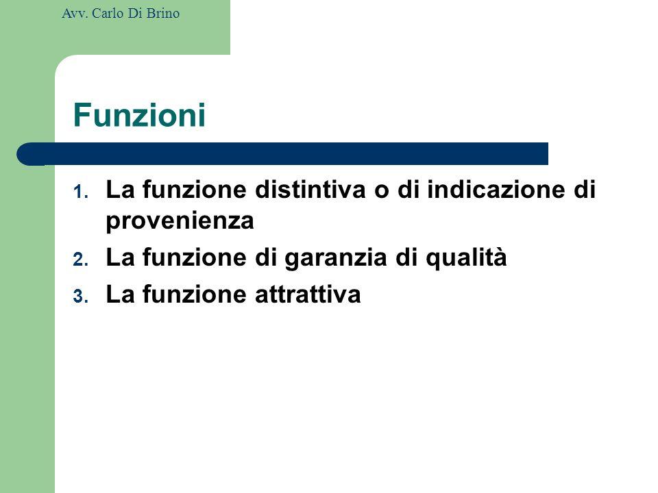 Funzioni La funzione distintiva o di indicazione di provenienza