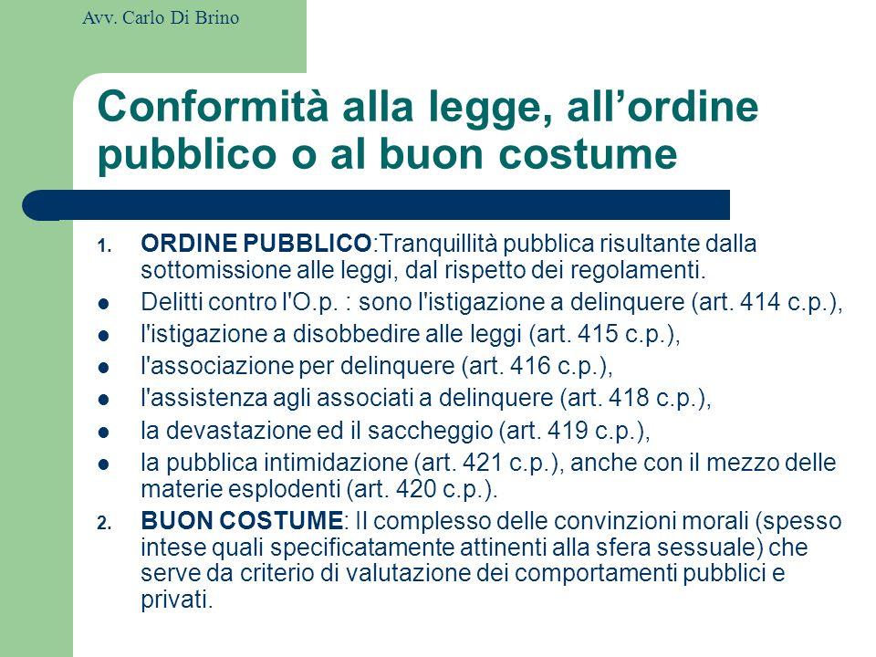 Conformità alla legge, all'ordine pubblico o al buon costume