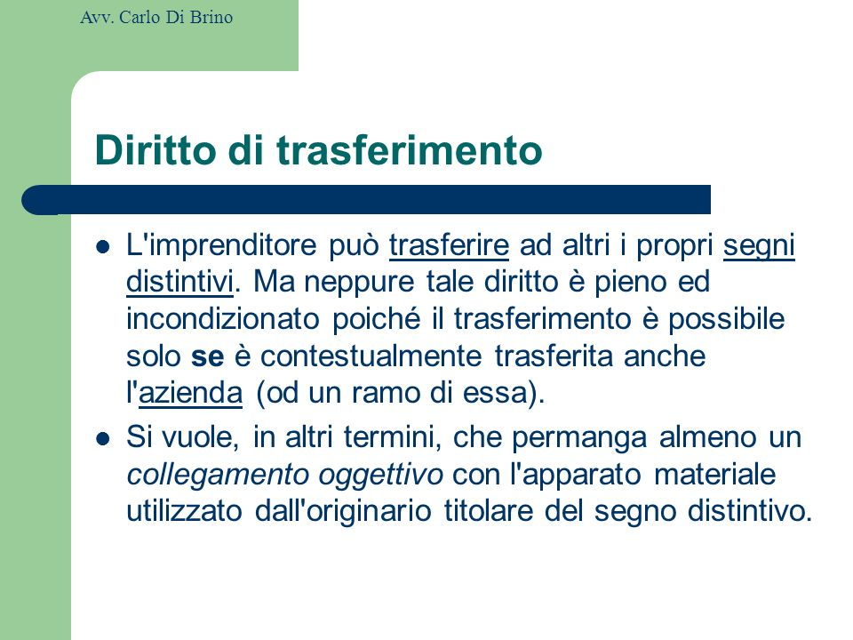 Diritto di trasferimento