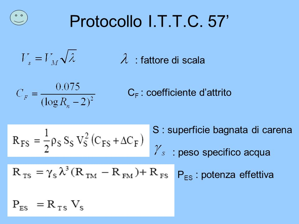 Protocollo I.T.T.C. 57' : fattore di scala CF : coefficiente d'attrito