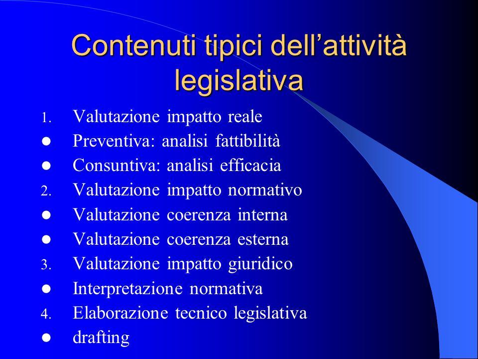 Contenuti tipici dell'attività legislativa