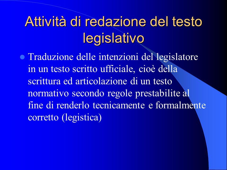 Attività di redazione del testo legislativo