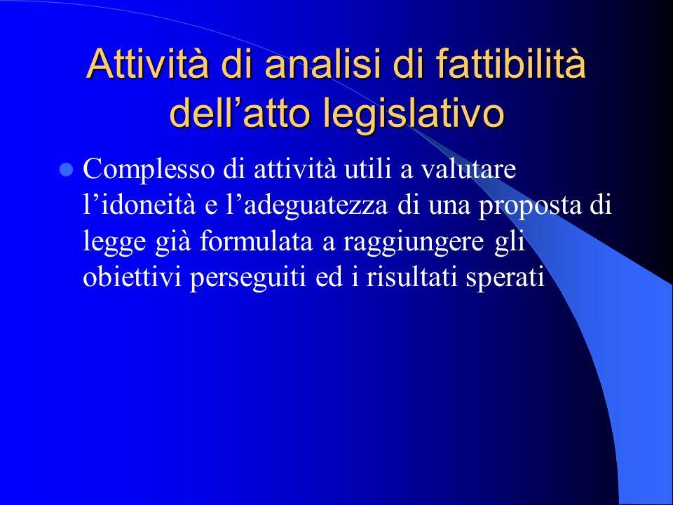 Attività di analisi di fattibilità dell'atto legislativo