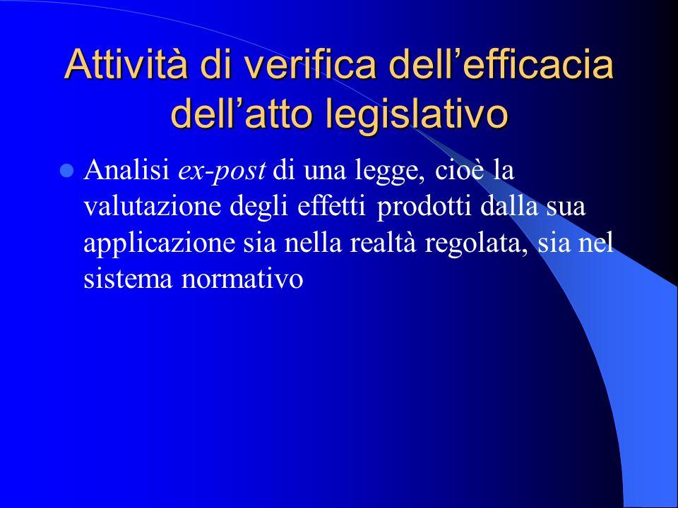 Attività di verifica dell'efficacia dell'atto legislativo