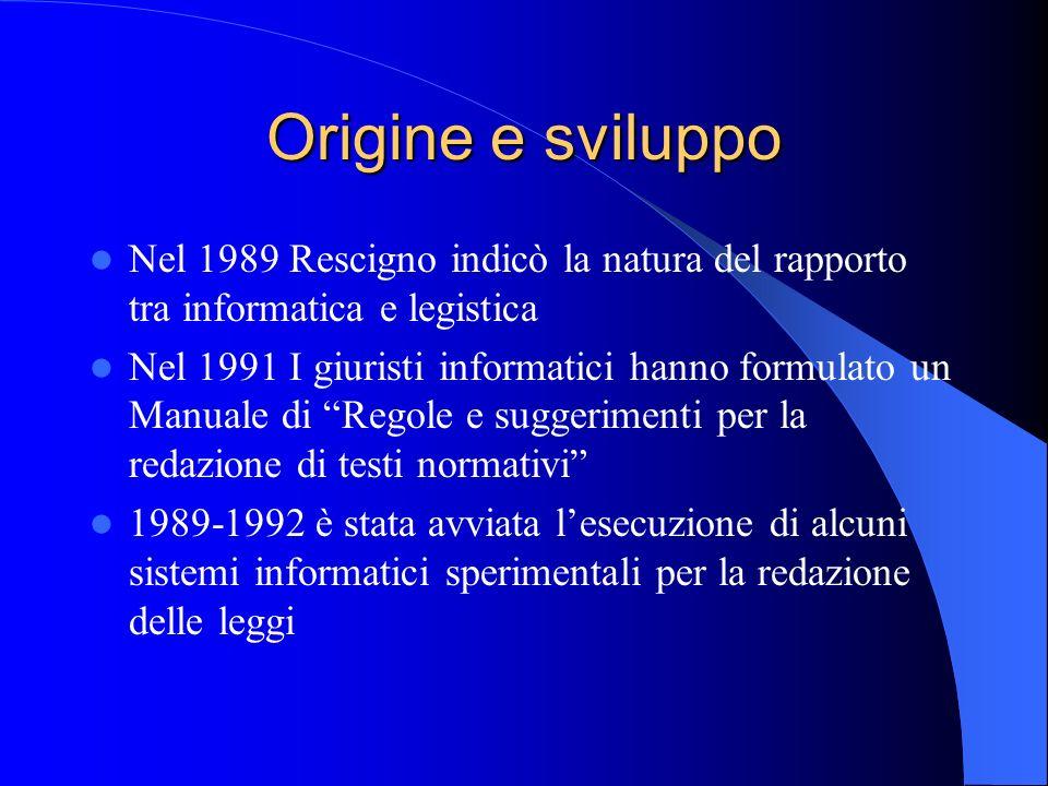 Origine e sviluppo Nel 1989 Rescigno indicò la natura del rapporto tra informatica e legistica.