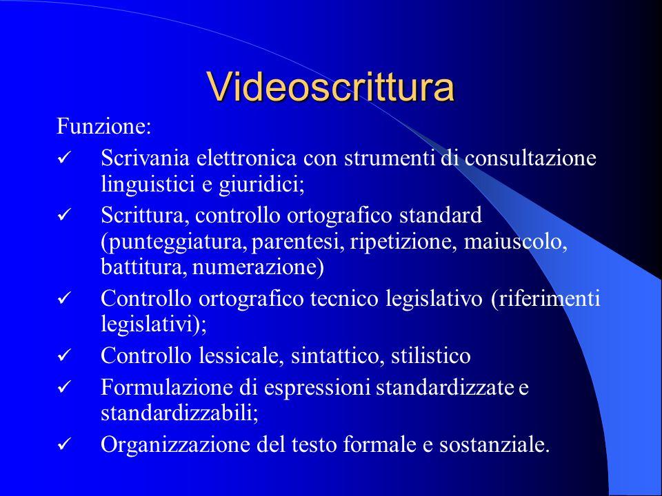 Videoscrittura Funzione: