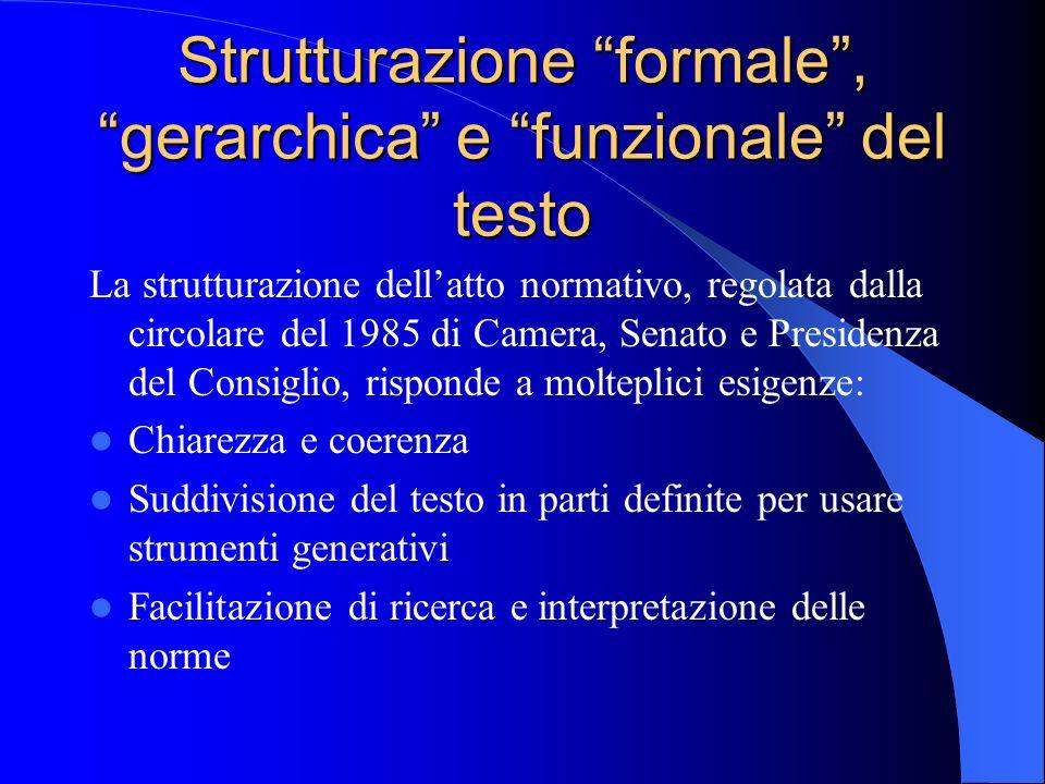 Strutturazione formale , gerarchica e funzionale del testo