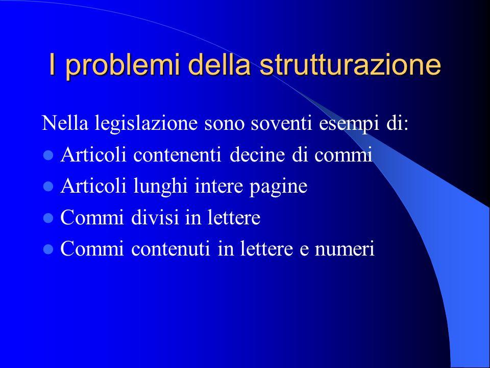 I problemi della strutturazione