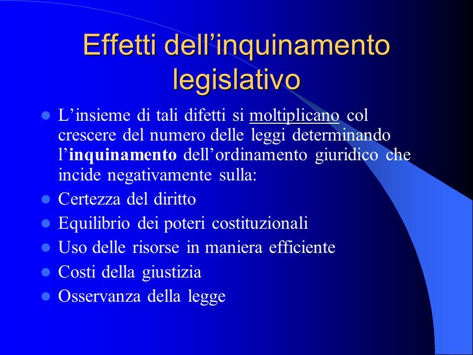 Effetti dell'inquinamento legislativo
