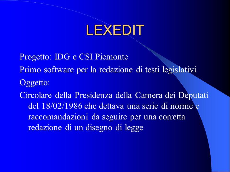 LEXEDIT Progetto: IDG e CSI Piemonte