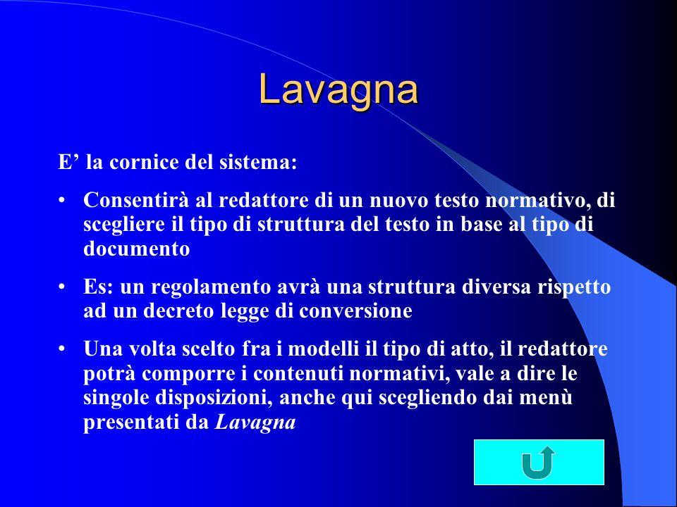 Lavagna E' la cornice del sistema: