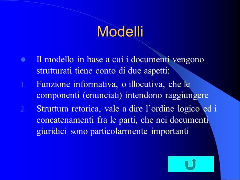 Modelli Il modello in base a cui i documenti vengono strutturati tiene conto di due aspetti: