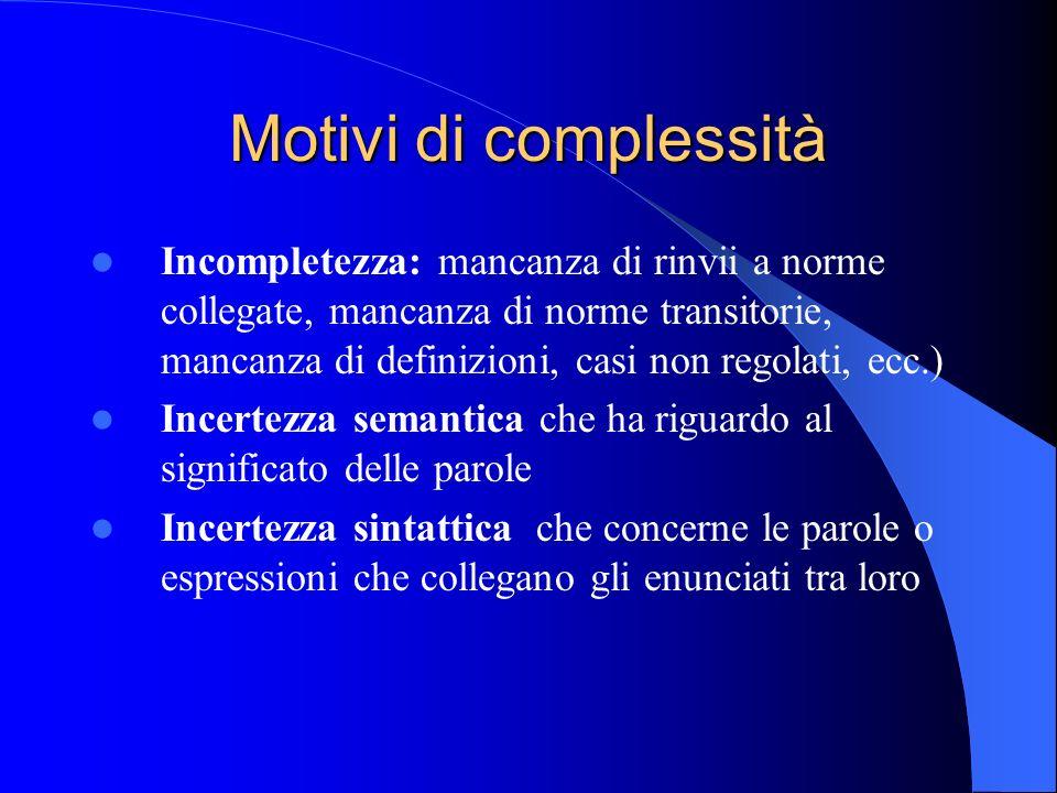 Motivi di complessità
