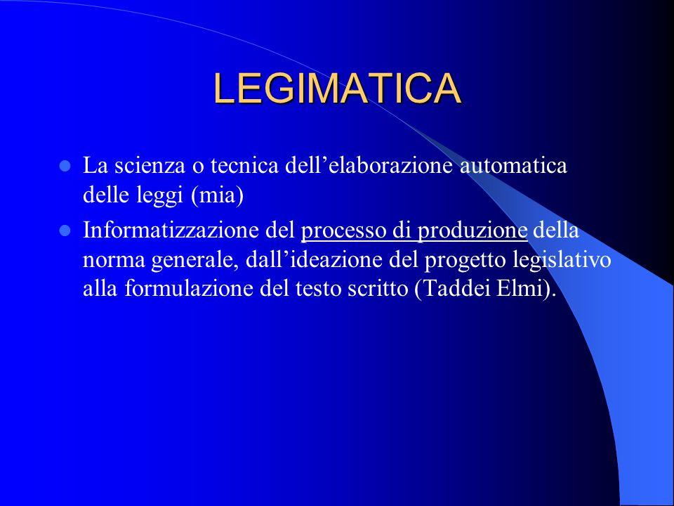 LEGIMATICA La scienza o tecnica dell'elaborazione automatica delle leggi (mia)